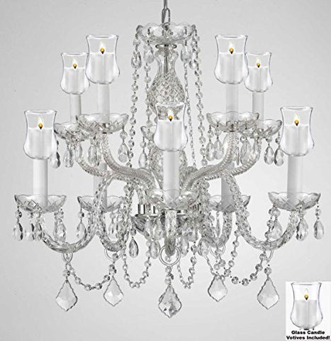 "Crystal Chandelier W/ Candle Votives H25"" X W24""- For Indoor / Outdoor Use! Great For Outdoor Events, Hang From Trees / Gazebo / Pergola / Porch / Patio / Tent ! - G46-B31/Cs/1122/5+5"