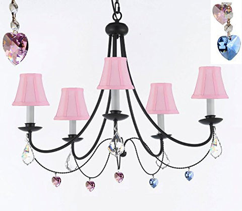 "Empress Crystal (Tm) Wrought Iron Chandelier Chandeliers Lighting H22.5"" X W26"" With Blue And Pink Heart Crystals And Pink Shades - J10-Sc/Pinkshades/B85/B21/B7/26031/5"