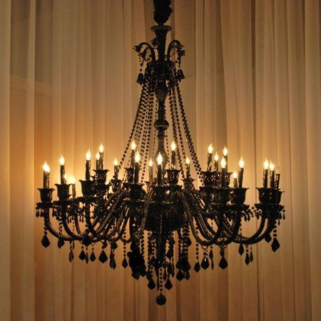 New Large Foyer / Entryway Jet Black Gothic Crystal Chandelier Lighting 52X46 30 Lights - A46-Black/757/30
