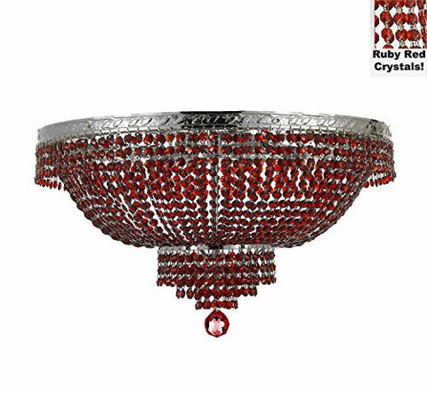 "French Empire Semi Flush Crystal Chandelier Lighting - Dressed With Red Beads Color Crystals H21"" X W30"" - F93-B81/Flush/Cs/870/14"