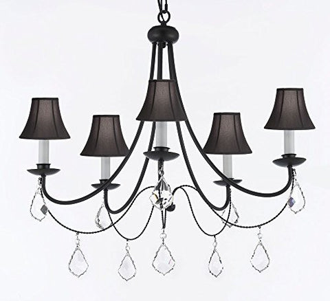 "Empress Crystal (Tm) Wrought Iron Chandelier Lighting H.22.5"" X W.26"" With Black Shades - J10-Sc/Blackshades/B7/26031/5"