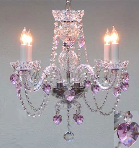 "Crystal Chandelier Lighting With Pink Crystal Hearts H17"" X W17"" - A46-B23/275/4"