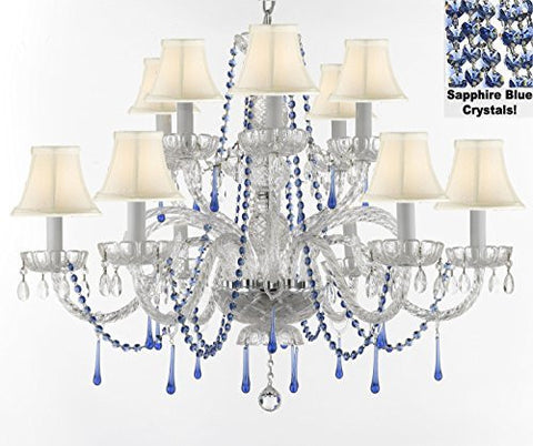 "Authentic All Crystal Chandelier Chandeliers Lighting With Sapphire Blue Crystals And White Shades Perfect For Living Room Dining Room Kitchen H32"" W27"" - A46-B82/Whiteshades/387/6+6"