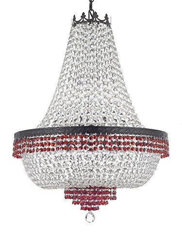 "French Empire Crystal Chandelier Chandeliers Lighting Trimmed with Ruby Red Crystal With Dark Antique Finish! H36"" X W30"" Good for Dining Room, Foyer, Entryway, Family Room and More! - F93-B75/CB/870/14"