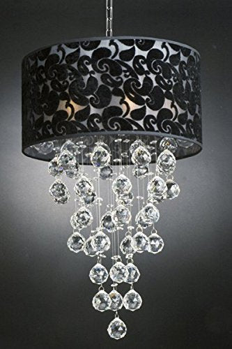 Modern Chandelier with Black Shade Rain Drop Lighting Crystal Ball Fixture Pendant Ceiling Lamp H24 X W16 6 Lights Modern - 60040/6