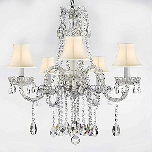 "Authentic All Crystal Chandeliers Lighting Empress Crystal (Tm) Chandeliers With White Shades H27"" X W24"" - G46-Whiteshades/B14/384/5"