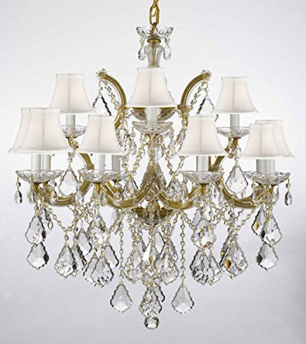"Chandelier Lighting Crystal Chandeliers With White Shades H30 ""X W28"" - F83-Whiteshades/B7/21532/12+1"