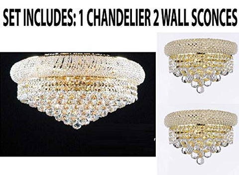 "Set of 3-1 Flush Empire Crystal Chandelier Chandeliers Lighting 15X24 and 2 Empire Empress Crystal (Tm) Wall Sconce Lighting W 12"" H 6"" - FLUSH/542/15 + CG/2180/12/WALLSCONCE"