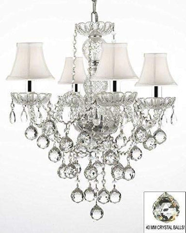 "Swarovski Crystal Trimmed Chandelier! Authentic All Crystal Chandelier Chandeliers Lighting W/ 40MM Crystal Balls and with White Shades w/Chrome Sleeves! H22"" X W17"" - G46-B43/WHITESHADES/B6/3/275/4 SW"