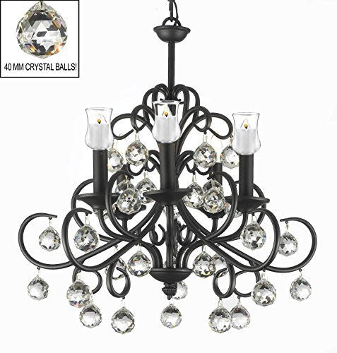 "Bellora Crystal Wrought Iron Chandelier Lighting Empress Crystal (Tm) With Faceted Crystal Balls And Votive Candles H 22"" W 20"" - Hang From Trees / Gazebo / Pergola / Porch / Patio / Tent - J10-B31/26070/5"
