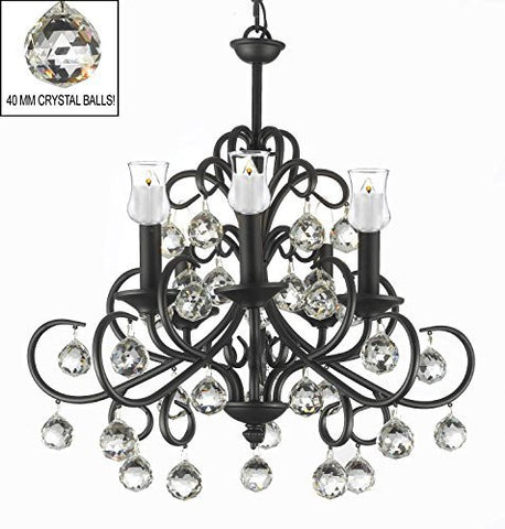 "Bellora Crystal Wrought Iron Chandelier Lighting Empress Crystal (Tm) With Faceted Crystal Balls And Votive Candles! H 22"" W 20"" - Hang From Trees / Gazebo / Pergola / Porch / Patio / Tent ! - A7-B31/586/5"