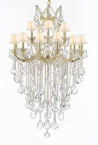 "Maria Theresa Empress Crystal (Tm) Chandelier Lighting H 50"" W 30"" With White Shades - Cjd-Cg/Sc/Whiteshades/B12/2181/30"