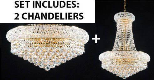 Set Of 2 - New French Empire Crystal Chandelier 24X32 + Flush Empire Crystal Chandelier Lighting 15X24 - Foyer Hallway Bedroom Kitchen- Works For All Locations - 1Ea-A93-542/15+1Ea-F93-Flush/542/15