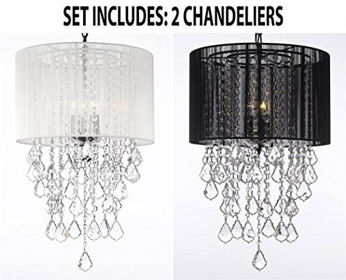 "Set Of 2 - 1 White And 1 Black Empress Crystal (Tm) Chandelier With Large Shade H24"" X W15"" - 1Eab7/White/3/604/3+ 1Eab7/Black/3/604/3"