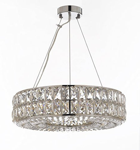 "Crystal Spiridon Ring Chandelier Modern / Contemporary Lighting Pendant 20"" Wide - Good For Dining Room Foyer Entryway Family Room - Gb104-3063/8"