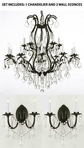 "Three Piece Lighting Set - Wrought Iron Chandelier Crystal Chandeliers Lighting H36"" X W36"" And 2 Wall Sconces - 1Ea 3034/10+5 + 2Ea 2/3034/Wallsconce"