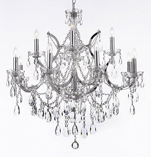 "Maria Theresa Chandelier Lighting Crystal Chandeliers H30 ""X W28"" Chrome Finish - A83-Chrome/2527/12+1"