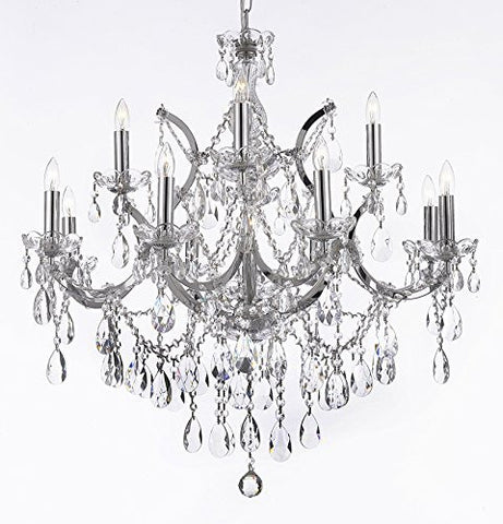 "Maria Theresa Chandelier Lighting Crystal Chandeliers H30 ""X W28"" Chrome Finish! - A83-Chrome/2527/12+1"