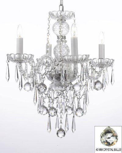 All Crystal Chandelier W/ 40Mm Crystal Balls & Crystal Icicles - G46-B29/3/275/4