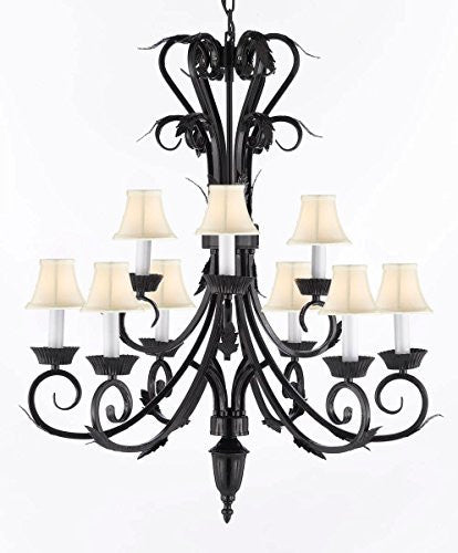 "Wrought Iron Chandelier With White Shades H 30"" W 26"" 9 Lights - A84-Whiteshades/724/6+3"