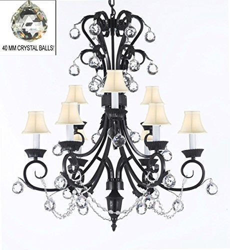 "Foyer / Entryway Wrought Iron Empress Crystal (Tm) Chandelier 30"" Inches Tall With Crystal Balls With White Shades H 30"" X W 26"" - A84-Whiteshades/B6/724/6+3"