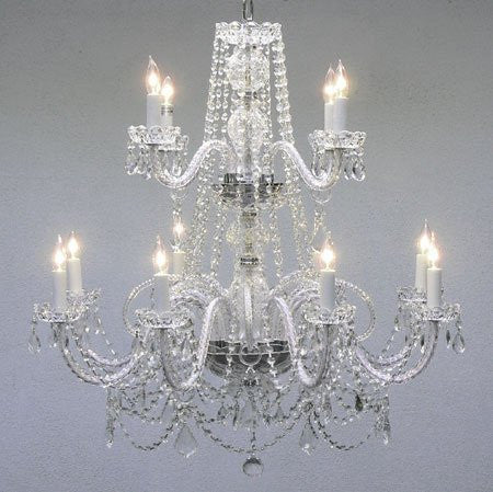 "Swarovski Crystal Trimmed Chandelier Authentic All Crystal Chandelier W/ Swarovski Crystal Lighting Chandeliers H30"" X W28"" - A46-2/385/8+4Sw"