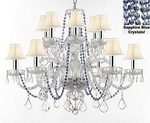 "AUTHENTIC ALL CRYSTAL CHANDELIER CHANDELIERS LIGHTING WITH SAPPHIRE BLUE CRYSTALS AND WHITE SHADES! PERFECT FOR LIVING ROOM, DINING ROOM, KITCHEN W/CHROME SLEEVES! H32"" W27"" - F46-B43/B82/WHITESHADES/385/6+6"