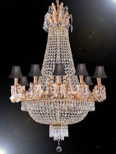 "Swarovski Crystal Trimmed Chandelier Empire Chandelier Lighting H 40"" W 30"" With Black Shades - A81-Sc/Blackshade/1280/10+5Sw"