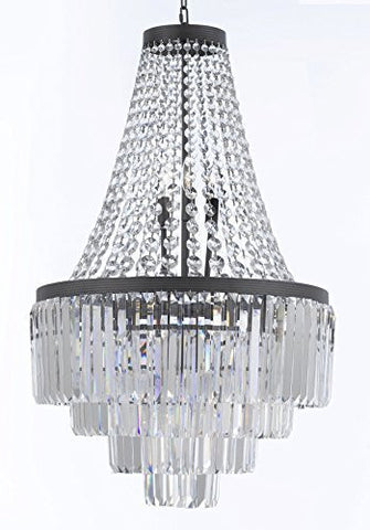 "Palladium Crystal Glass Fringe 4-Tier Chandelier Lighting H35"" W24"" - G7-2183/11"