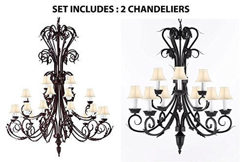 "Set Of 2 - 1-Wrought Iron Chandelier 50"" Inches Tall With White Shades H50"" X W30"" And 1-Wrought Iron Chandelier With White Shades H 30"" W 26"" 9 Lights - 1Ea-Sc/724/24+1Ea-Sc/724/6+3-Whtshd"