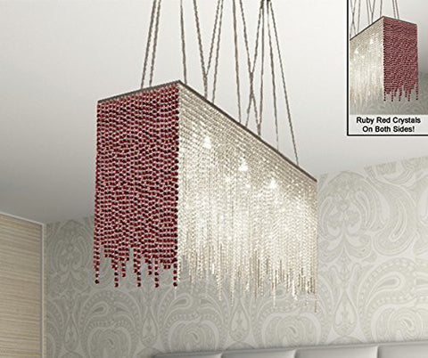 "10 Light Modern / Contemporary Dining Room Chandelier Rectangular Chandeliers Lighting Dressed With Ruby Red Crystal 28"" X 36"" - G902-B75/1114/10"