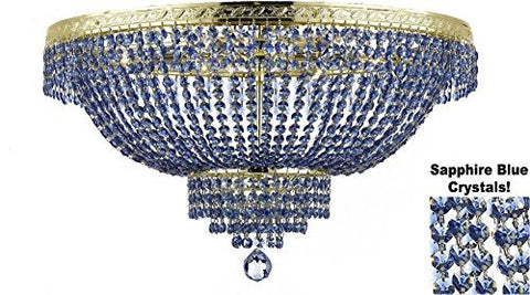 "French Empire Semi Flush Crystal Chandelier Lighting - Dressed With Sapphire Blue Color Crystals H18"" X W24"" - F93-B82/Flush/Cg/870/9"