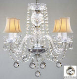 Swarovski Crystal Trimmed Chandelier! Murano Venetian Style All Crystal Chandelier W/ Crystal Balls And White Shades! - A46-B6/Whiteshades/275/4 Sw