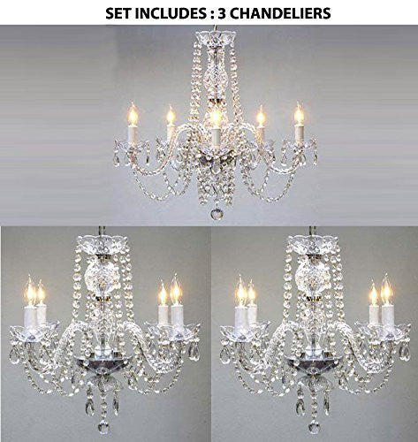 "Set Of 3 - 1 Empress Crystal Chandelier Lighting H25"" X W24"" And 2 Authentic All Crystal Chandelier H17"" X W17"" - 1Ea-384/5 + 2Ea-275/4"