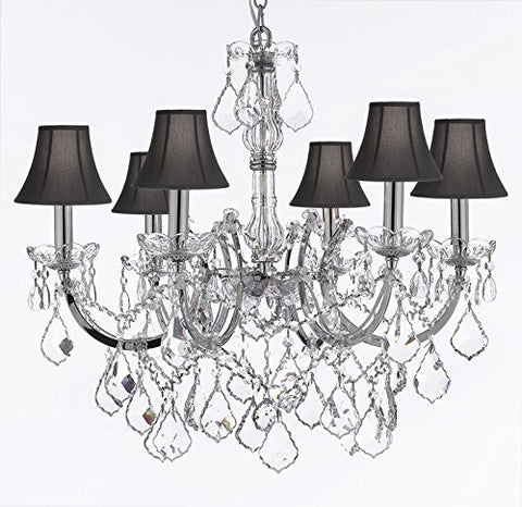 "Maria Theresa Chandelier Lighting Crystal Chandeliers H20 ""X W22"" Chrome Finish With Black Shade Trimmed With Spectratm Crystal - Reliable Crystal Quality By Swarovski - F83-Sc/Blackshade/Chrome/2528/6Sw"