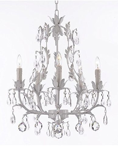 White Wrought Iron Floral Chandelier Lighting W/ Crystal Balls - J10-B6/White/26016/5