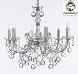 "Maria Theresa Chandelier Lighting Crystal Chandeliers H 20"" X W 22"" Chrome Finish Dressed With Crystal Balls Trimmed With Spectratm Crystal - Reliable Crystal Quality By Swarovski - F83-B6/Chrome/2528/6Sw"