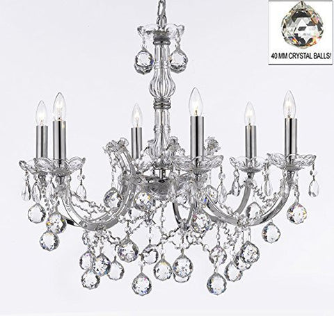 "Maria Theresa Chandelier Lighting Empress Crystal (Tm) Chandeliers H 20"" X W 22"" Chrome Finish - F83-B6/Chrome/2528/6"