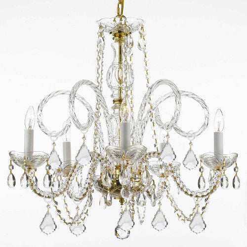 "Crystal Chandelier Lighting H 25"" W 24"" - Cjd-G46-Gold/385/5"