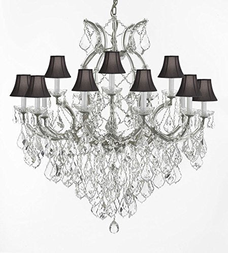"Maria Theresa Empress Crystal (Tm) Chandelier Lighting H 38"" W 37"" With Black Shades - A83-Sc/Silver/1/21510/15+1"