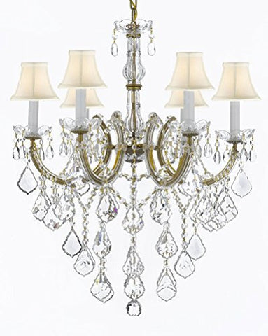 "Maria Theresa Chandelier Crystal Lighting Chandeliers With White Shades H 30"" W 22"" - J10-Sc/B12/26066/6"