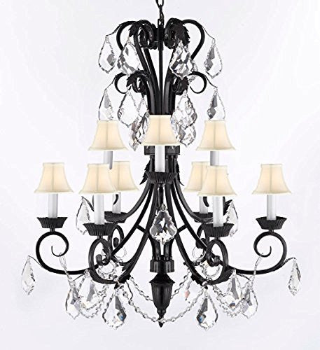 "Entryway Wrought Iron (Tm) Chandelier 30"" Inches Tall With Crystal And ShadesTrimmed With Spectra (Tm) Crystal - Reliable Crystal Quality By Swarovski - A84-Sc/B12/724/6+3-Sw"