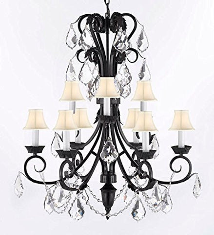 "Foyer / Entryway Wrought Iron Empress Crystal (Tm) Chandelier 30"" Inches Tall With Crystal And White Shades H 30"" X W 26"" - A84-Whiteshades/B12/724/6+3"