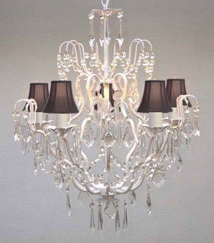 "Swarovski Crystal Trimmed Chandelier Wrought Iron & Crystal Chandelier And Black Shades H27"" X W21"" - J10-Blackshades/C/26025/5 Sw"