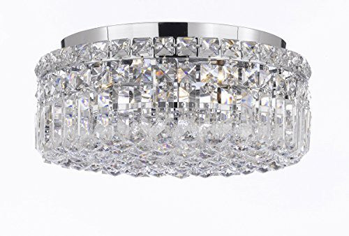 "Modern Contemporary Flush Round Empress Crystal (Tm) Chandelier Lighting W14"" H5.5"" - Cjd-Cs/2186/14"