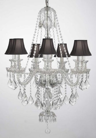 "New Clear Crystal Chandelier Lighting H37"" X W26"" With Black Shades - G46-Blacksahdes/Clear/Sm/490/7"