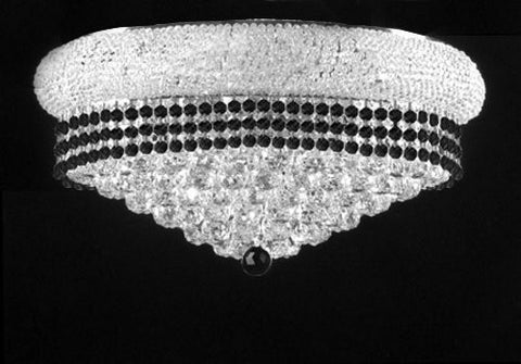 "Flush French Empire Crystal Chandelier Lighting Trimmed With Jet Black Crystal Good For Dining Room Foyer Entryway Family Room And More H15"" X W24"" - F93-B79/Silver/Flush/542/15"