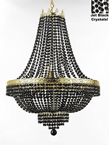"French Empire Crystal Chandelier Lighting - Dressed With Jet Black Color Crystals Great For A Dining Room Entryway Foyer Living Room H30"" X W24"" - F93-B80/Cg/870/9"