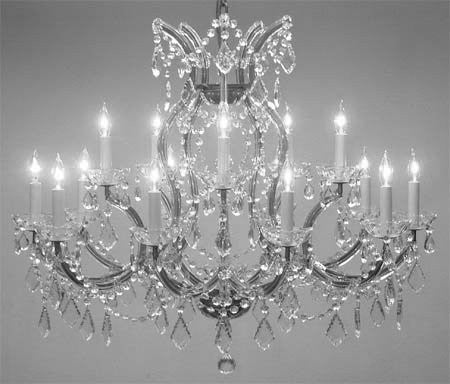 "Maria Theresa Chandelier Crystal Lighting Chandeliers Lights Fixture Pendant Ceiling Lamp For Dining Room Entryway Living Room H28"" X W37"" - A83-Cs/1514/15+1"