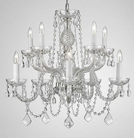 "Swarovski Crystal Trimmed Chandelier! Chandelier Lighting Dressed With Swarovski Crystal! H 25"" W 24"" Swag Plug In-Chandelier W/ 14' Feet Of Hanging Chain And Wire! - G46-B15/Cs/1122/5+5Sw"